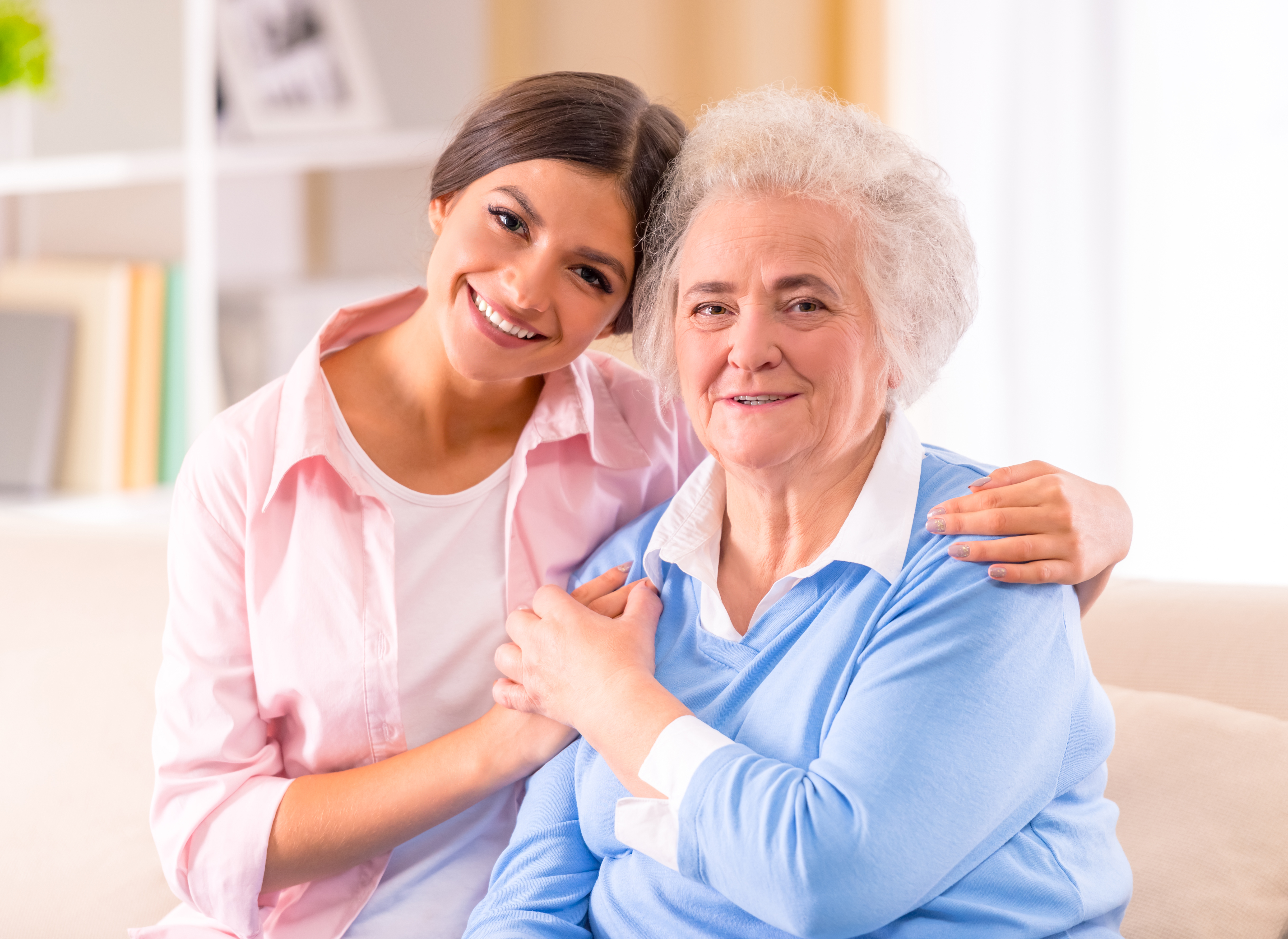 Aged care worker with client